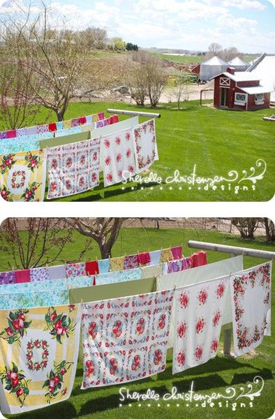 Love Farm Life, Old Linens,  & Clothes lines.Clotheslines, Tables Clothing, Country Quilt, Farm Life, Vintage Table Cloth, Vintage Linens, Country Life, Farms Life, Vintage Tablecloths