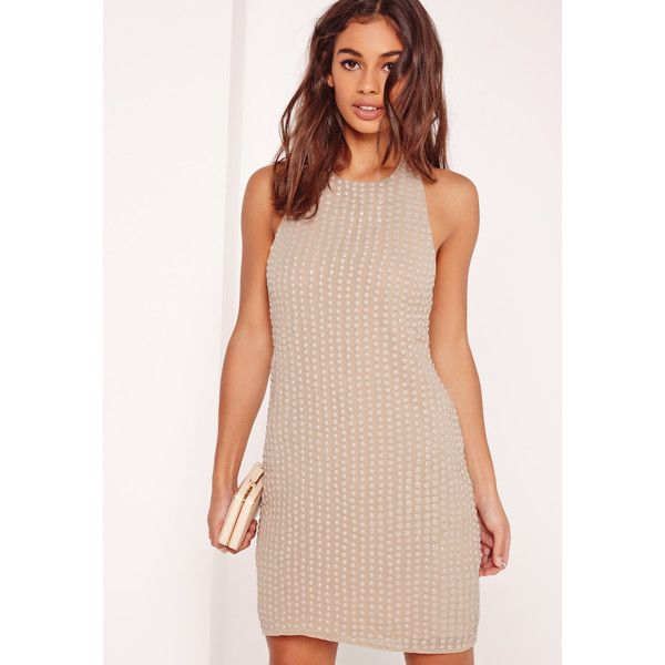 Missguided Beaded Halter Neck Bodycon Dress  ($105) ❤ liked on Polyvore featuring dresses, nude, open back dresses, halter dress, halter cocktail dress, sexy cocktail dresses and pink halter top