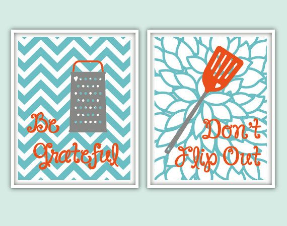 Kitchen Art set of 2 instant download Sea blue Teal door DIYwallART