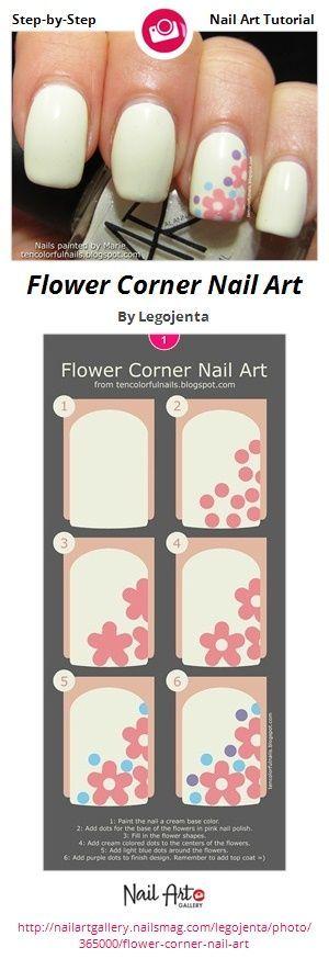 Flower Corner Nail Art by Legojenta - Nail Art Gallery Step-by-Step Tutorials nailartgallery.nailsmag.com by Nails Magazine www.nailsmag.com #nailart