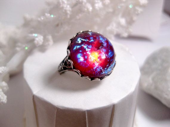 Round Dragon's Breath Ring  Opal Ring  Fire by FashionCrashJewelry