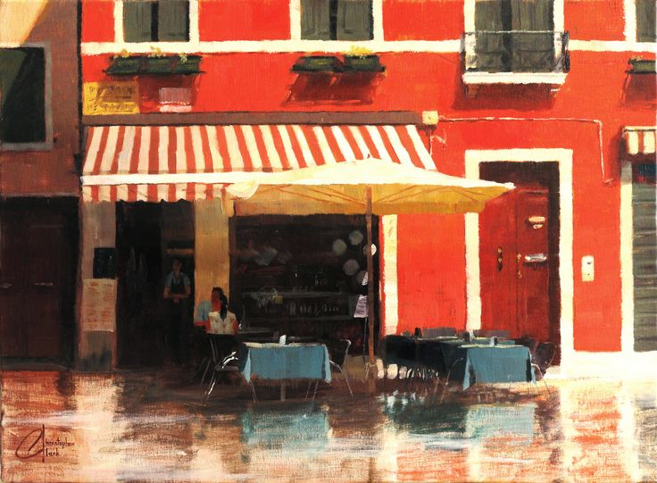 """""""Cafe in Venice II"""" - Original by Christopher Clark - The Incredible Art Gallery"""