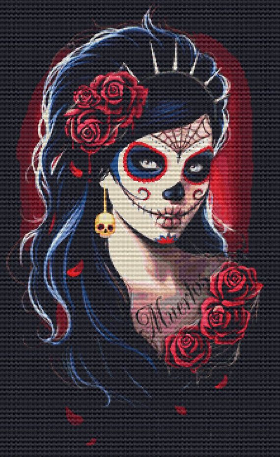 Modern Counted Cross Stitch Kit Day of the Dead By Anna Marine - Sugar Skull NeedleCraft Kit - DMC Materials on Etsy, $102.25 CAD