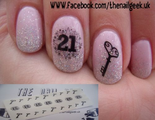 21st birthday nail tattoos/ nail decals /nail transfers