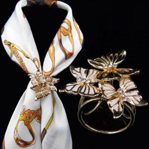 Vintage Rhinestone Butterfly Scarf Buckle Brooch - WHITE
