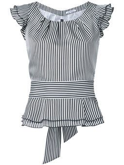 striped frilled cap sleeve blouse