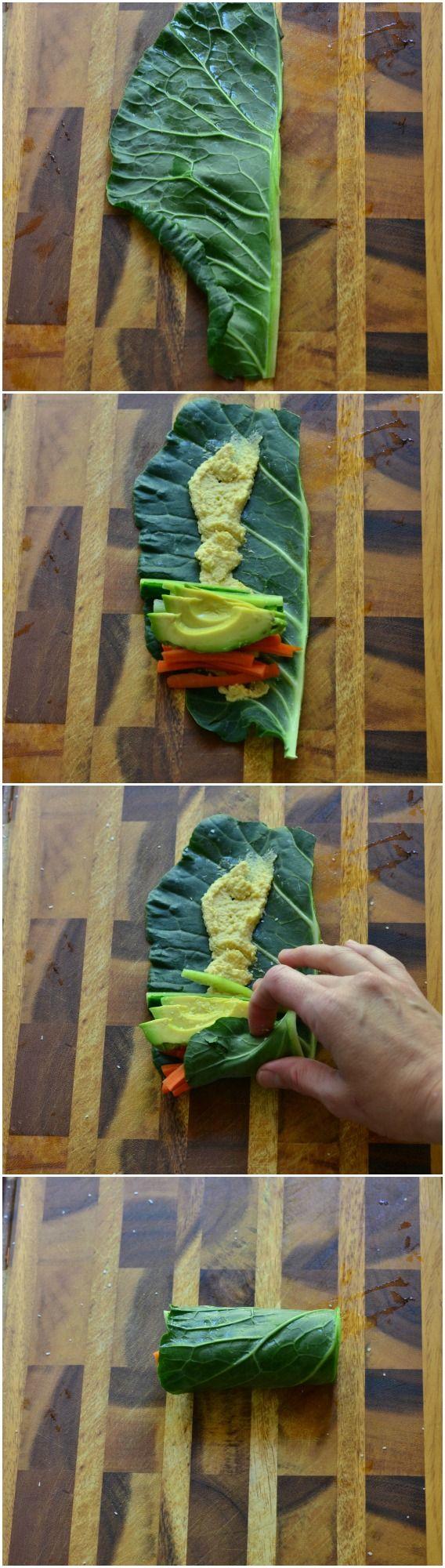 3 hojas de berza, cortados por la mitad a lo largo del tallo grueso * ½ c. hummus fresca 2 zanahorias, cortadas en juliana 1 pepino, eviscerado y cortados en juliana 1 aguacate, rodajas finas 6 palillos de dientes