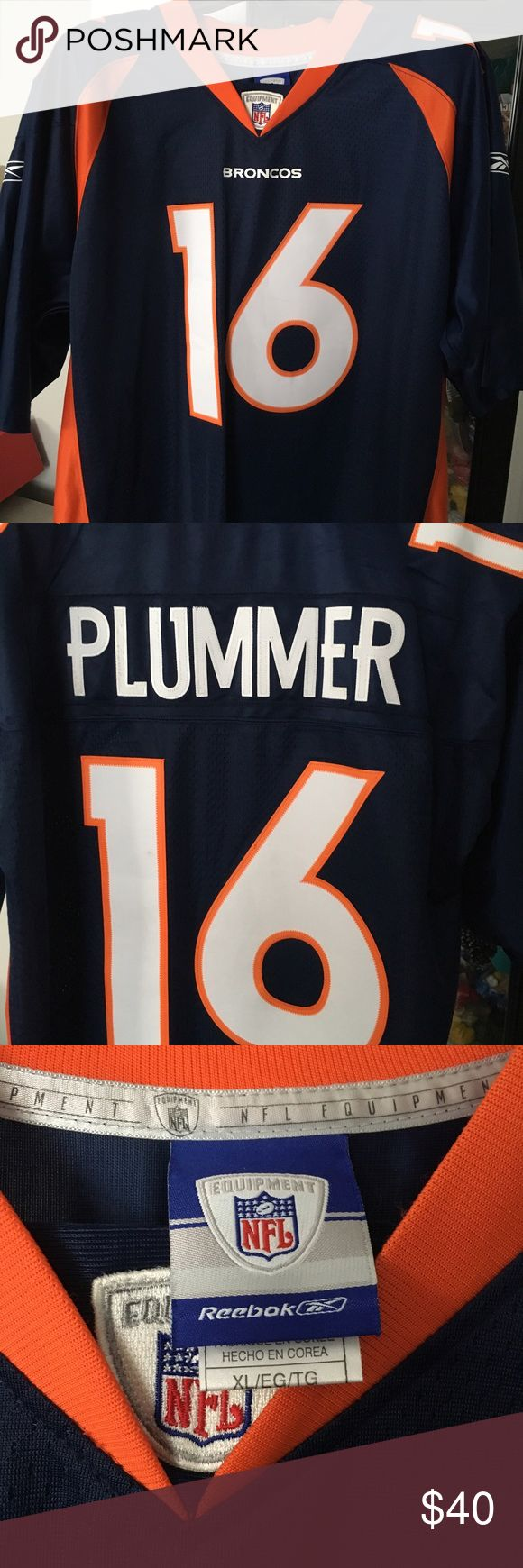 Official NFL Broncos Jersey - Jake Plummer Gently used Official NFL mid-00s Broncos jersey. Add to your collection today! Slight discoloration on edge of the 1 and the PL - close-up in photos. Shirts