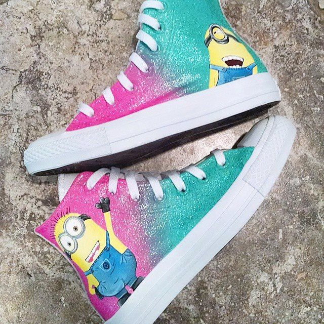 Despicable Me Leather Converse by OCSneakerKing on Etsy