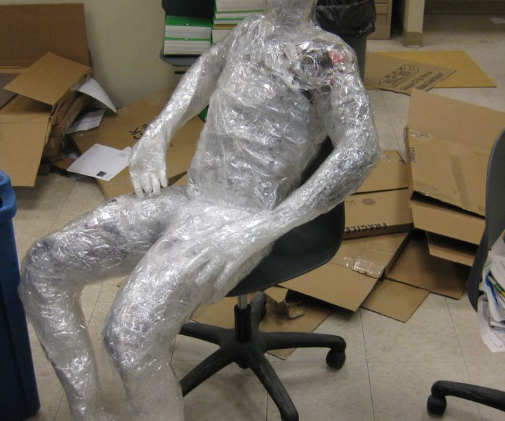 These are human-mold sculptures made out of plastic wrap and packing tape. They are fun, easy to make, and can take on any pose you can think of.  I d...