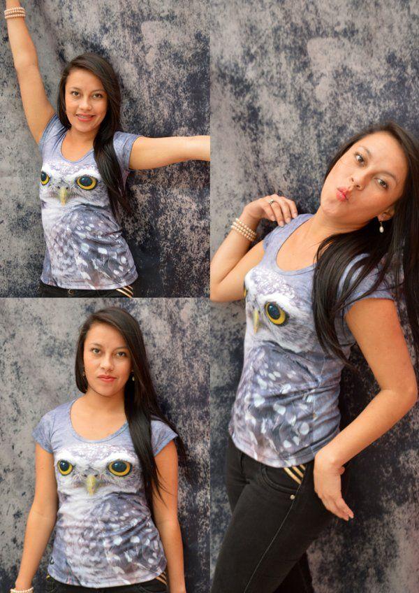 Camiseta buho glaucidium -Mujer  Elaborada en %100 poliéster  Precio $ 45.000  Tallas S- M- L Whatsapp 312 393 6893 contacto@subligrafica.com