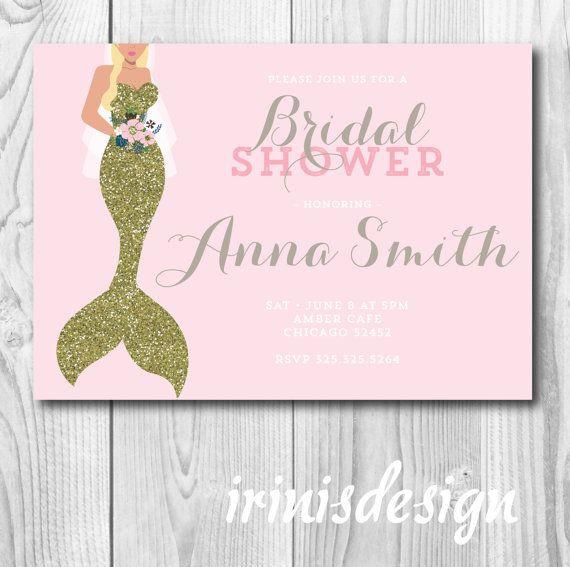 Mermaid Bridal Shower Invitation  gold glitter by irinisdesign