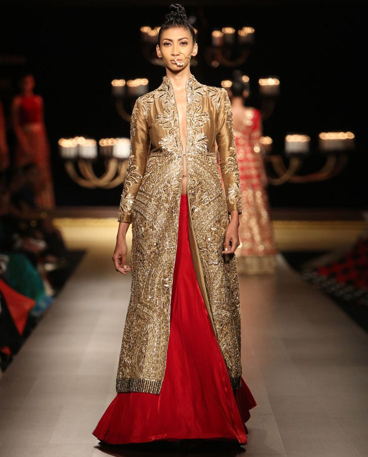 Ruby Lengha Set with Zari Embroidered Gold Jacket by Manish Malhotra | India Couture Week - 2014, Price on Request View collection: http://bit.ly/manishmalhotraicw2014 #Lengha #Lehenga #ManishMalhotra #Ivory #Ecru #Sari #Saree #Gold #Ruby #Indian #India #Desi #Designer #ICW #Luxury #Celebrity #Bollywood #RedCarpet #Beautiful #Stunning #CoutureWeek #Golden #Fashion #Style #Trend #Runway #Gorgeous #BridalWear #WeddingWear #JacketLengha #zari #Embroidery #MirrorWork #GotaWork