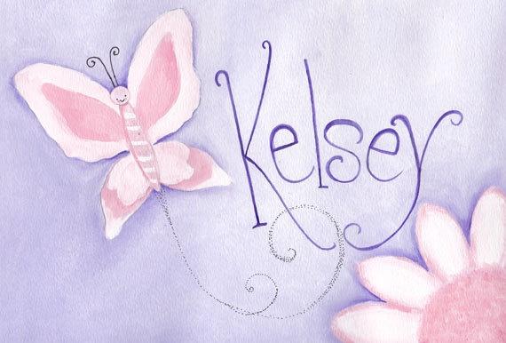Butterfly nursery decor pink purple girls by talkingdonkeystudio, $45.00