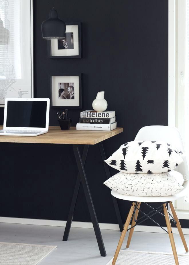 Black Accent Wall Office Modern Workspace I White Decor Ideas Dark Walls Walls And Black Accent Walls Luxury Home Interior Home Office Decor Home Office Design