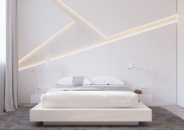 """Современная спальня в белых тонах от """"Shmidt Studio"""" on Behance"""