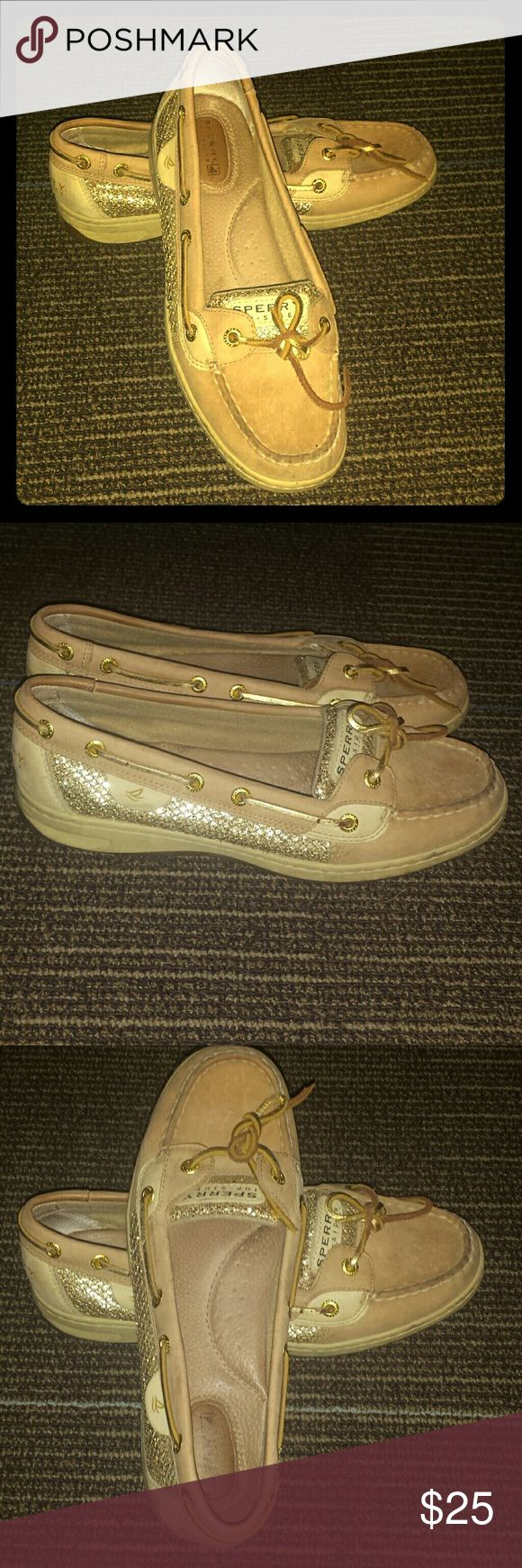 SPERRY ANGELFISH gold loafers Sperry's Angelfish style with sparkle gold netted sides. Very lightly worn. Look brand new. Just not really my style. Size 8.5 Sperry Top-Sider Shoes Flats & Loafers