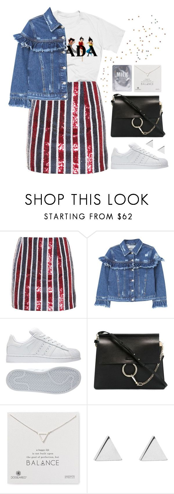 """grown child"" by s-ensible ❤ liked on Polyvore featuring Giamba, MANGO, adidas, Chloé, Dogeared and Jennifer Meyer Jewelry"