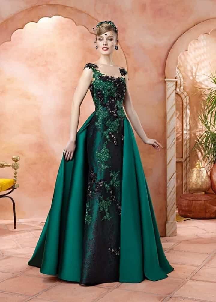 VL4700, Valerio Luna emerald green dress black lace appliques