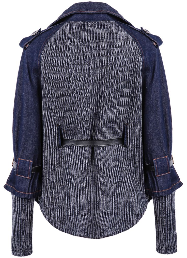 Blue Contrast Denim Lapel Knit Sweater