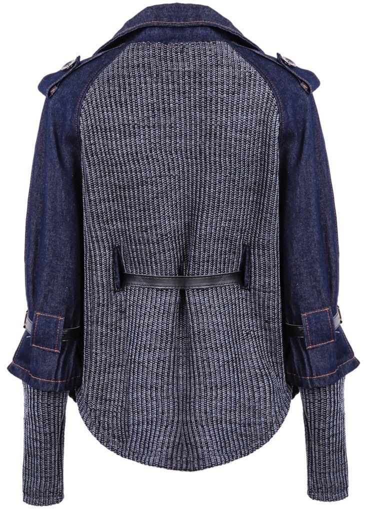 Blue Contrast Denim Lapel Knit Sweater - Sheinside.com