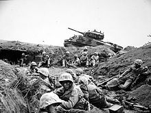 Marines from the 24th Marine Regiment during the Battle of Iwo Jima.