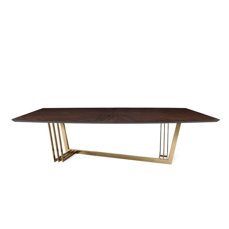 D'Arc Dining Table | Laskasas - Decorate Life | Inspired by Joanna D'Arc, the great French warrior, D'Arc dining table is a solid wood dining table that resembles the brown armor as well as the gold details pay tribute to the sword of the heroine. All materials are customizable making it possible to fit any décor. A stunning interior design piece that can stand out in every interior design. | Visit www.laskasas.com and discover more mid-century dining tables