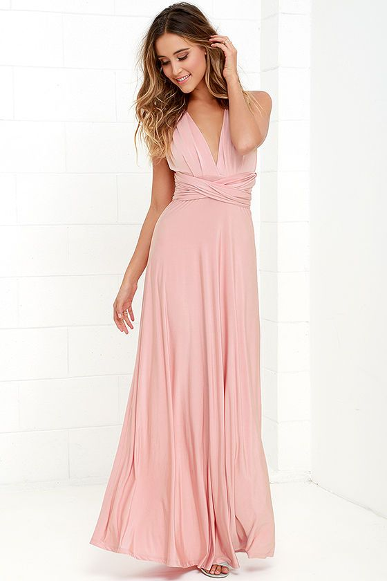 Always Stunning Convertible Blush Pink Maxi Dress at Lulus.com!  Estimated arrival March 31. $58 and fits size zero to 10.