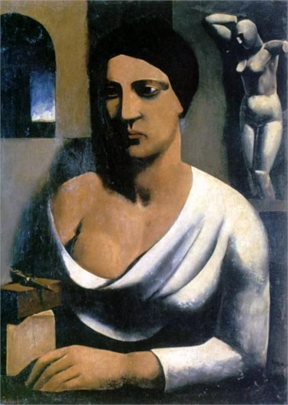 The model of the sculptor, 1923-1924-Mario Sironi - by style - Neoclassicism