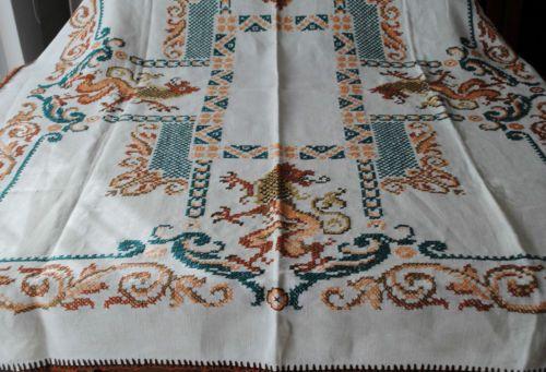 Alte Große Tischdecke Leinen Heraldisches Motiv Drachen Handarbeit   eBay