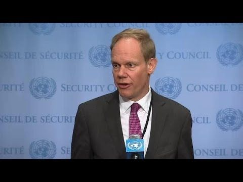 UN Security Council President Matthew Rycroft (UK) on the Lake Chad Basi...