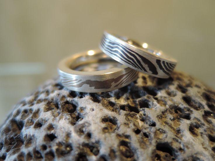 Bandringe - Mokume Gane Damast Ring - ein Designerstück von Tesoro-Tenerife bei DaWanda