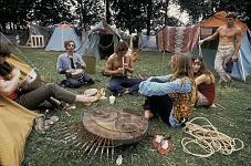 Bethel, New York:  Hog Farm area on Saturday at the Woodstock Festival. 1969 ©Tom Miner / The Image Works