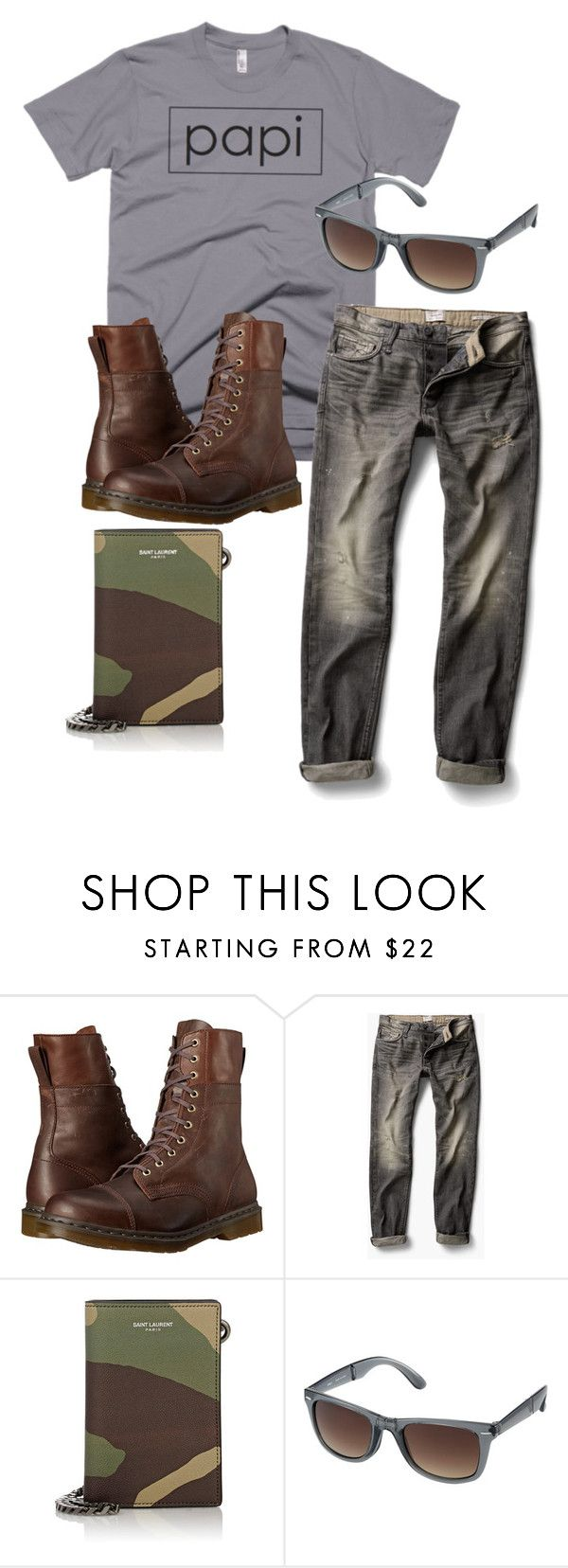 """papi t-shirt"" by bootboot on Polyvore featuring Dr. Martens, MANGO, Yves Saint Laurent, Uniqlo, men's fashion and menswear"