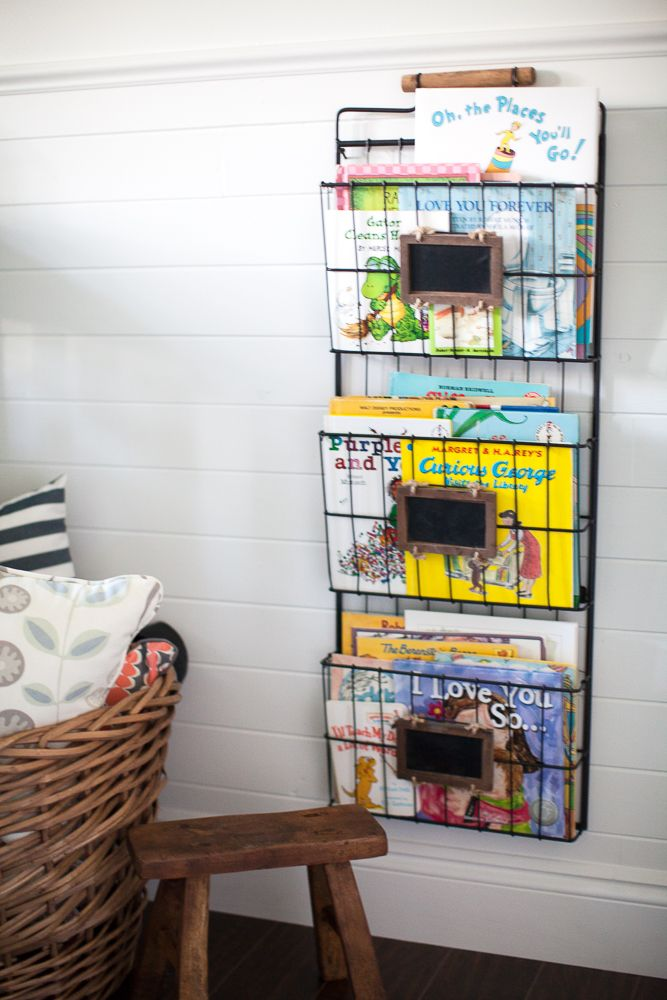 We love this hanging magazine rack used in the nursery or kids room to display books!
