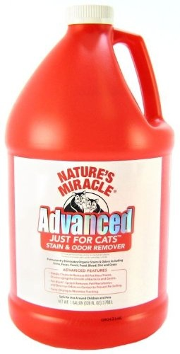 $67.47-$44.56 The most advanced Natures Miracle formula made for tough cat urine stains and odor which incorporates the best performing cleaning technologies. Deeply cleans to remove all pet mess traces, discouraging the spread of unsanitary pet waste. Pet-Block ™ System removes pet pheromones and destroys odors on contact to prevent re-soiling. Faster drying to minimize tracking.