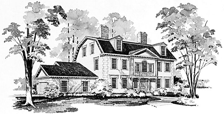 This+late+Georgian+adaptation+is+reminiscent+of+the+Cowles+house+built+in+ Farmington,+Connecticut+around+1786.+The+projecting+central+pavilion,+Ionic+ columns,+Palladian+window+and+pedimented+gable+are+among+the+details+that+set+ the+character+of+this+historic+house.+Dentils,+wooden+quoins+and+bracketed+ cornices+complete+the+pic-ture+of+elegance.+Inside,+the+foyer+leads+to+the+ formal+living+room,+the+library+and+the+U-shaped+kitchen.+The+family+room+opens…