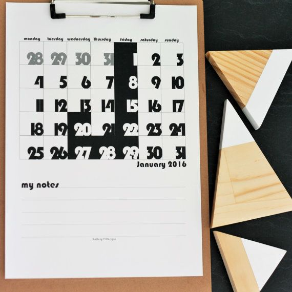 Print your own 2016 Calendar - instant download - A4 size  This modern minimalist monochrome printable calendar was designed to not only to look