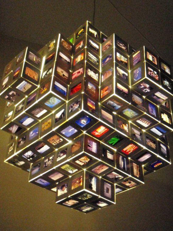 Photo Slides Chandelier Light Hanging Vintage by StuffByJenB, $285.00