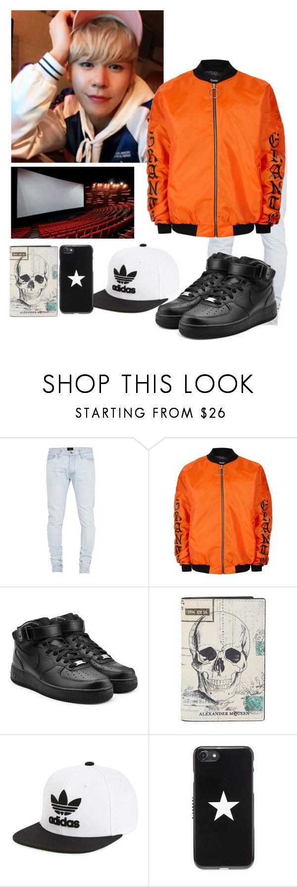 """""""Bobi- Movie Date"""" by ra5calicate ❤ liked on Polyvore featuring Fear of God, Topman, NIKE, Alexander McQueen, adidas, Givenchy, men's fashion and menswear"""