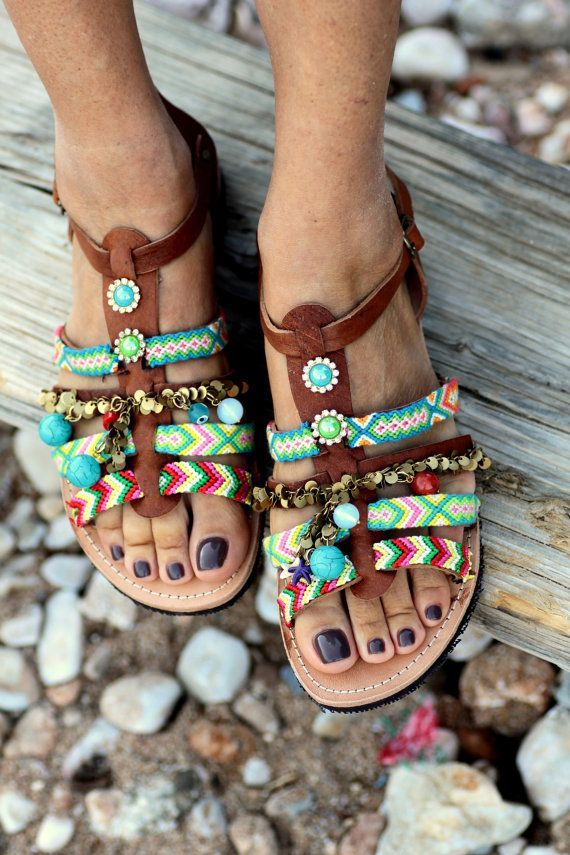 Handmade pure greek leather sandals, hippy chic style, decorated with multicolored friendships,semiprecious stones and motifs made by original