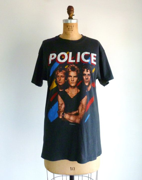 The Police Vintage Concert T-Shirt 80s Cotton Black Shirt L on Etsy, $76.00