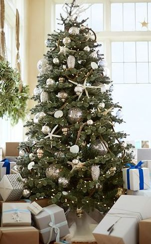 Simple coastal inspired Christmas tree http://rstyle.me/n/uba7rnyg6