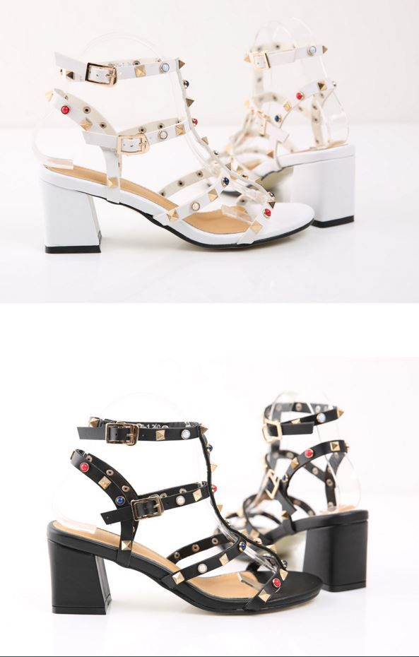 StyleOnme_Color Studded Mid-Heel Sandals #stud #studded #heels #sandals #gladiator