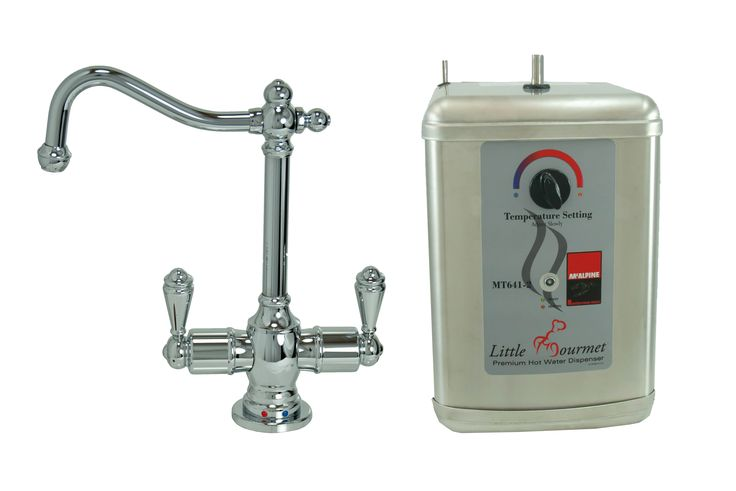 Traditional Hot & Cold Water Dispenser w/ Extended, Curved Spout & Little Gourmet® Premium Hot Water Tank