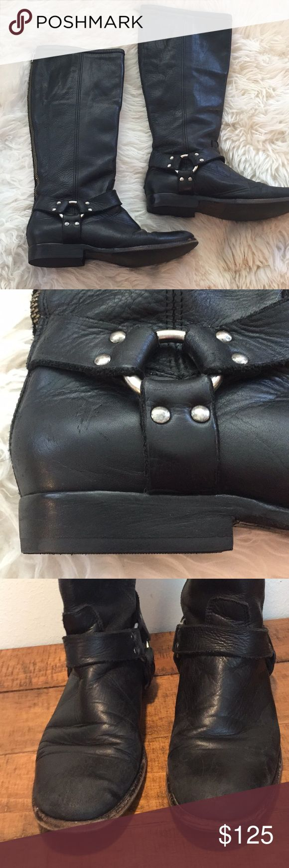 Ladies Frye boots Top quality tall harness boot by Frye. Preloved cleaned and conditioned for you. Fresh from the boot shop with new heels. A fall style staple ❤️ Frye Shoes Heeled Boots