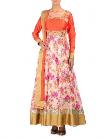 Floral Printed Anarkali Suit with Embroidered Orange Bodice