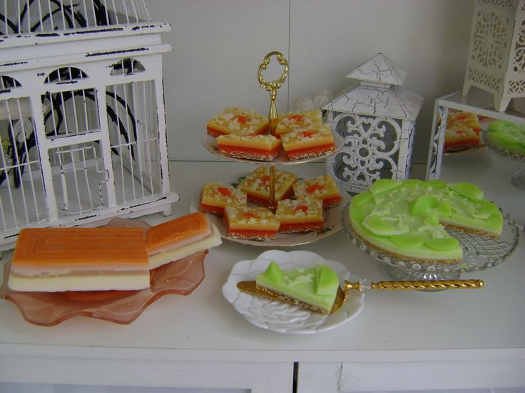 Angel cake, Manchester tart and Lime cheesecake soap!