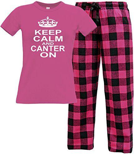 Fuchsia Women's T-Shirt & Fuchsia Buffalo Long Pants 'KEEP CALM AND CANTER ON' with White Print.