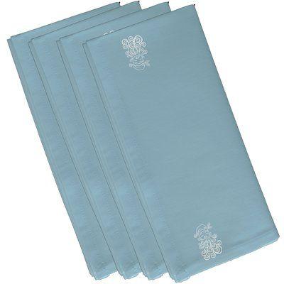 "The Holiday Aisle Santa Baby Holiday Print Napkin Size: 19"" W x 19"" L, Color: Light Blue"